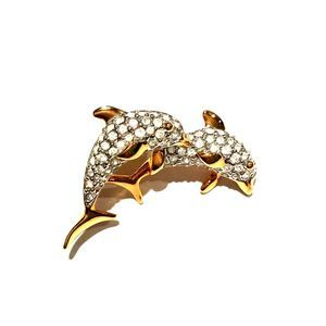 Swarovski Crystal Pave Double Dolphin Pin